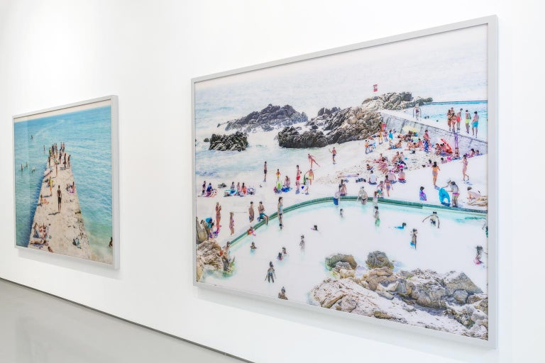 Santa Maria al Bagno diptych - large scale Mediterranean beach scene (framed) For Sale 4