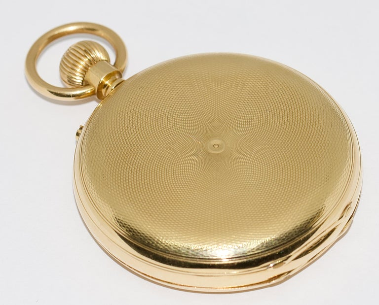 Massive 18 Karat Gold Men's Hunter Pocket Watch by Allamand Brothers, London For Sale 7