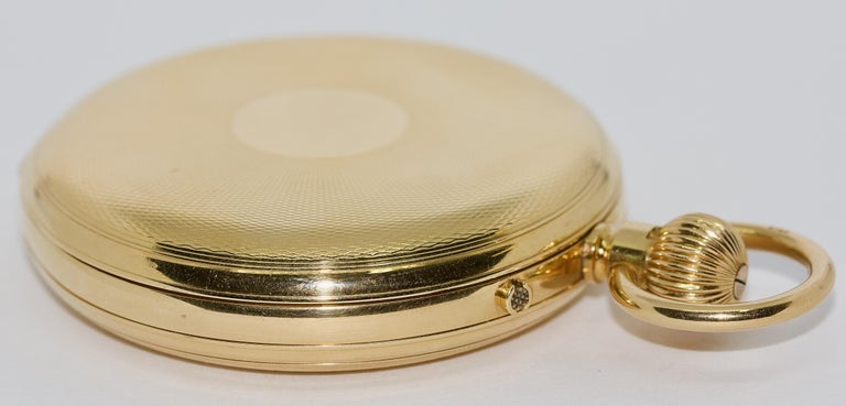 Massive 18 Karat Gold Men's Hunter Pocket Watch by Allamand Brothers, London For Sale 8
