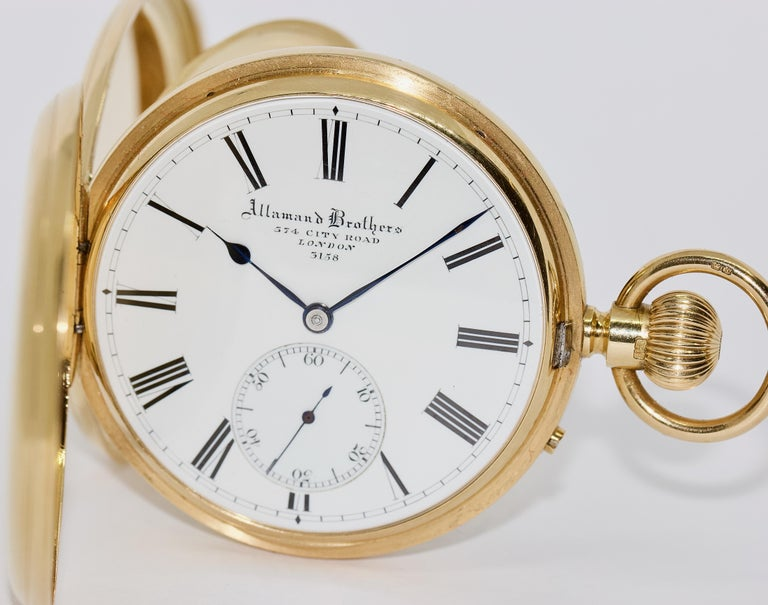 Rare massive 18 Karat Gold mens Hunter Pocket Watch Allamand Brothers London.  Allamand Brothers, 374 City Road, London 3158 Three lids 18K solid gold. Movement made in 1A quality.  Absolute collectors watch.  Diameter without crown measured.  Very