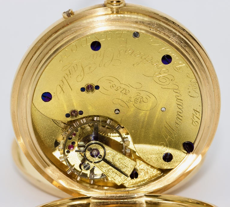 Massive 18 Karat Gold Men's Hunter Pocket Watch by Allamand Brothers, London For Sale 4
