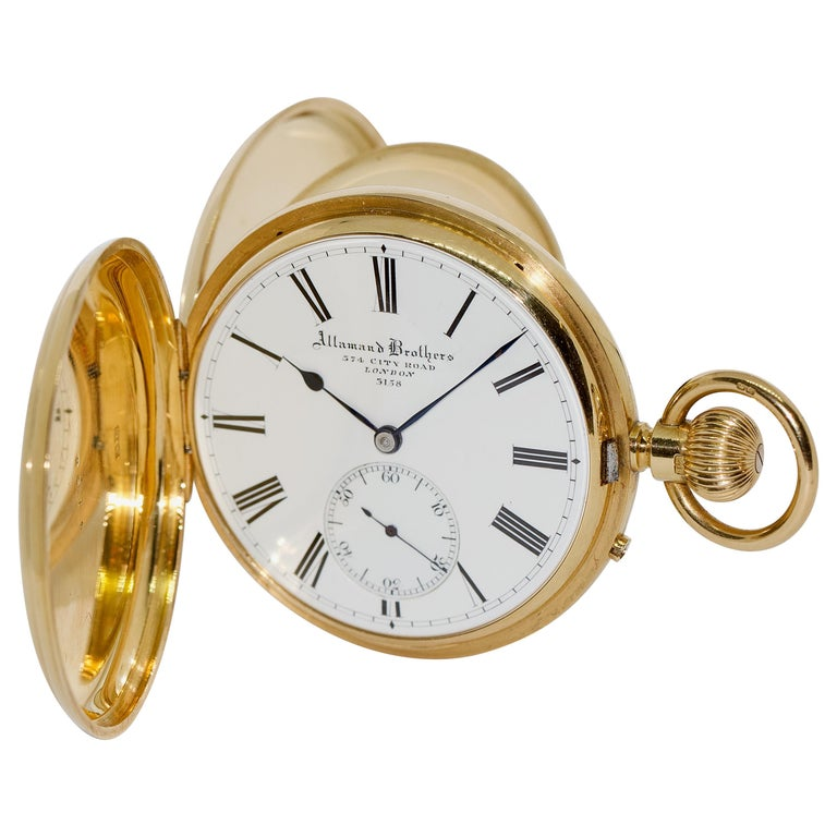 Massive 18 Karat Gold Men's Hunter Pocket Watch by Allamand Brothers, London For Sale