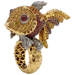 Massive 18 Karat Yellow Gold Gemstone and Diamond Fish Cocktail Ring