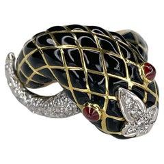 Massive 18K Yellow Gold Black Enamel Snake Ring by David Webb