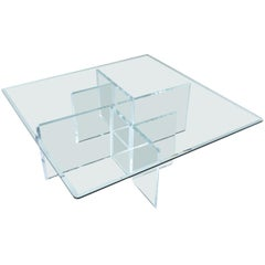 Massive 1970s Hollis Style Lucite Acrylic Coffee Table Base with New Glass