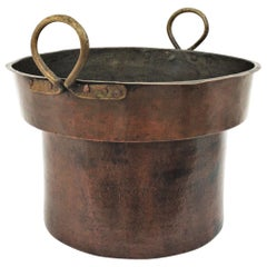 Massive 19th Century French Copper and Brass Cauldron with Handles