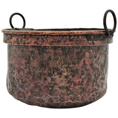 Massive 19th Century French Copper Cauldron with Handles and Terrific Patina