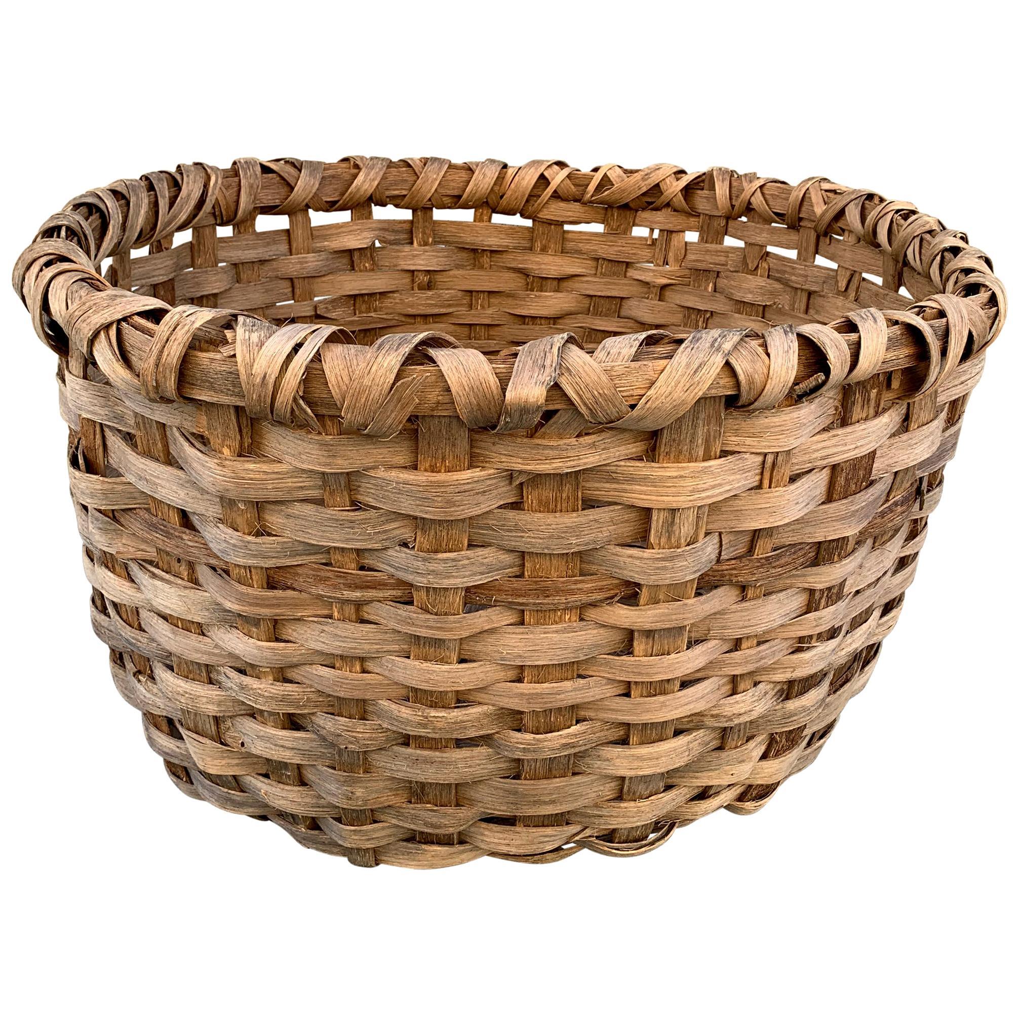Massive 19th Century Oak Splint Wool Basket
