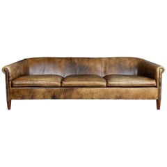 Massive 20th Century Dutch Sheepskin Leather Sofa, circa 1970