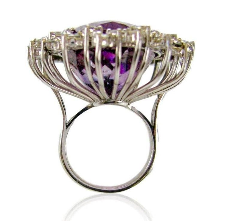 Mixed Cut Massive 50 Carat Amethyst and Diamond Cocktail Ring, circa 1960 For Sale