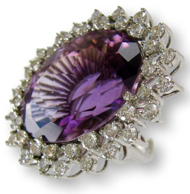 Massive 50 Carat Amethyst and Diamond Cocktail Ring, circa 1960 In Good Condition For Sale In Cincinnati, OH