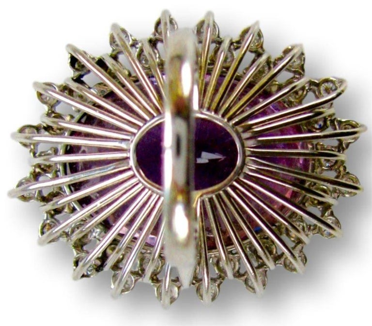 Women's Massive 50 Carat Amethyst and Diamond Cocktail Ring, circa 1960 For Sale