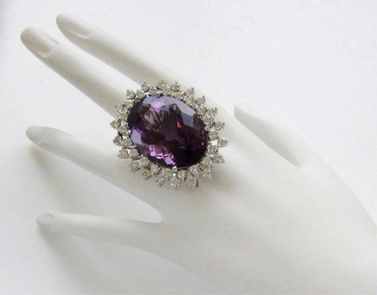 Massive 50 Carat Amethyst and Diamond Cocktail Ring, circa 1960 For Sale 1