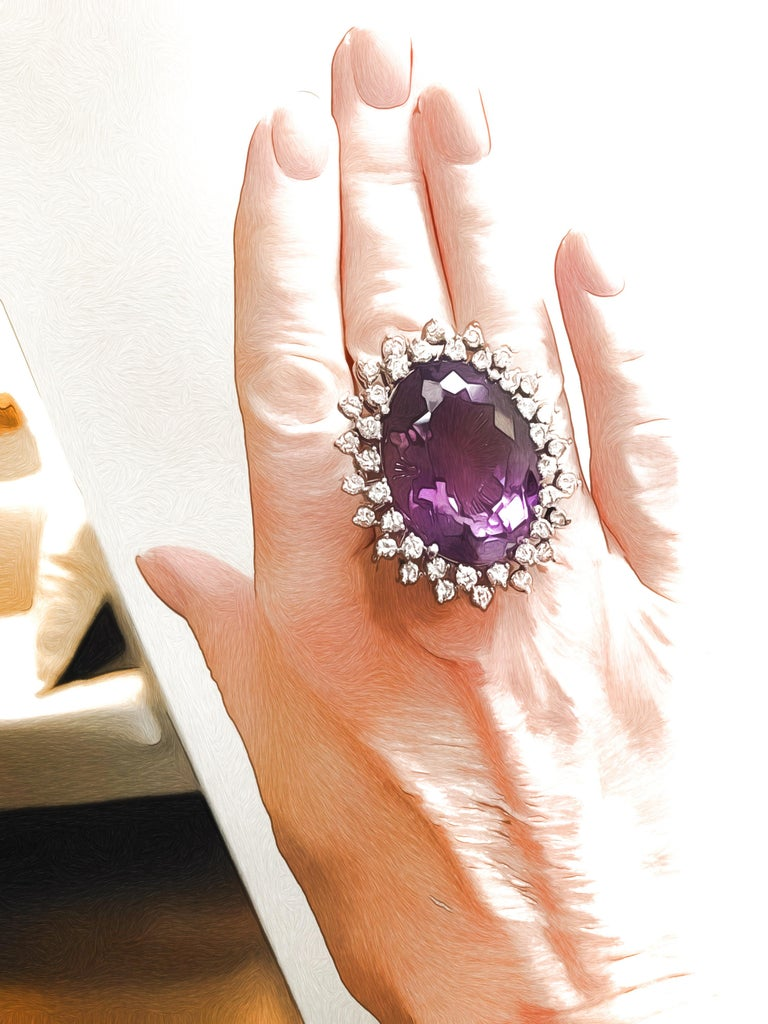 Massive 50 Carat Amethyst and Diamond Cocktail Ring, circa 1960 For Sale 2