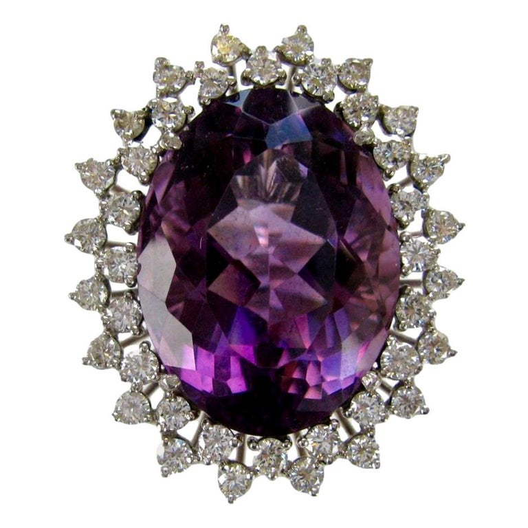 Massive 50 Carat Amethyst and Diamond Cocktail Ring, circa 1960 For Sale