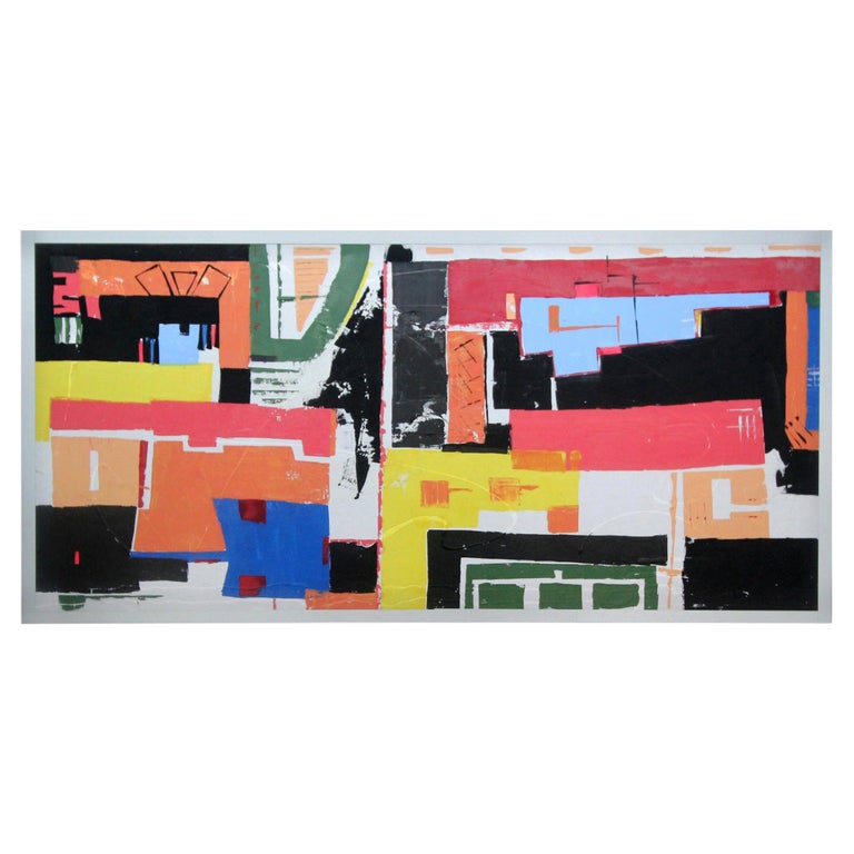 Massive Abstract Acrylic Painting on Canvas For Sale