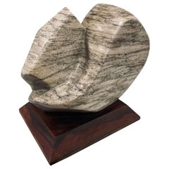 Massive Abstract Sculpture in Marble & Walnut Base Signed LRA 1990
