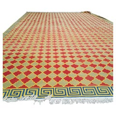 Massive All-Over Field Antique Indian Green&Rust Dhurrie Kilim, 1920-1950