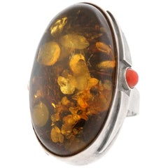 Massive Amber and Coral Sterling Ring