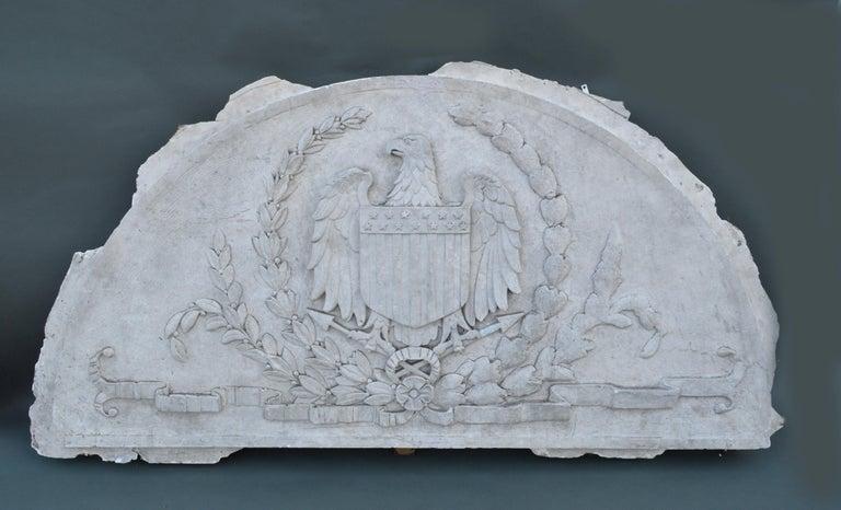 Massive American Antique Plaster Demilune Plaque with American Eagle & Shield For Sale 4