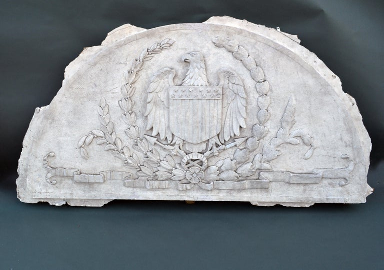 Federal Massive American Antique Plaster Demilune Plaque with American Eagle & Shield For Sale