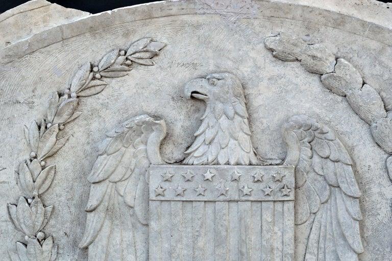 North American Massive American Antique Plaster Demilune Plaque with American Eagle & Shield For Sale