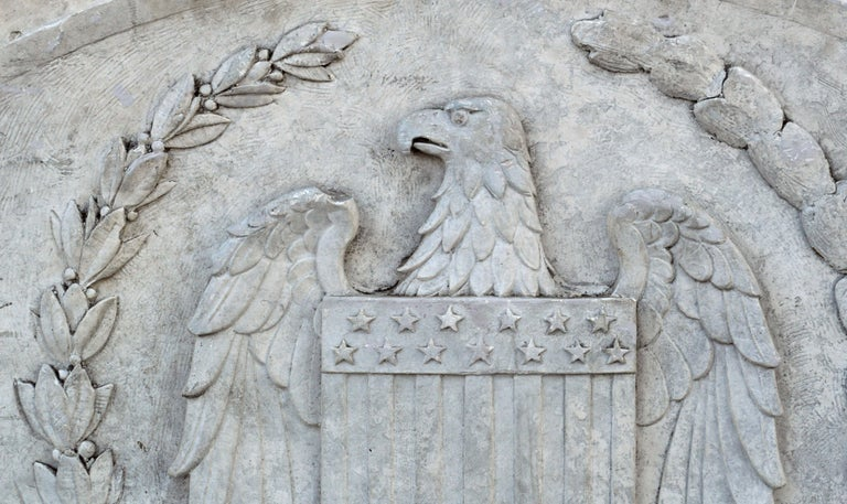 Massive American Antique Plaster Demilune Plaque with American Eagle & Shield In Good Condition For Sale In Downingtown, PA