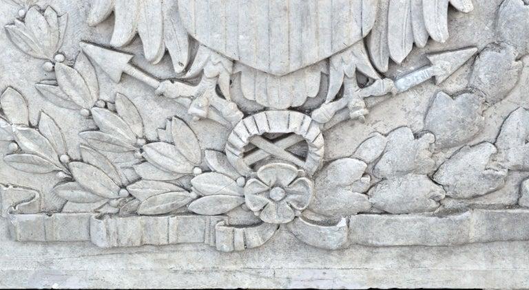 20th Century Massive American Antique Plaster Demilune Plaque with American Eagle & Shield For Sale