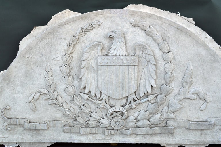 Massive American Antique Plaster Demilune Plaque with American Eagle & Shield For Sale 1