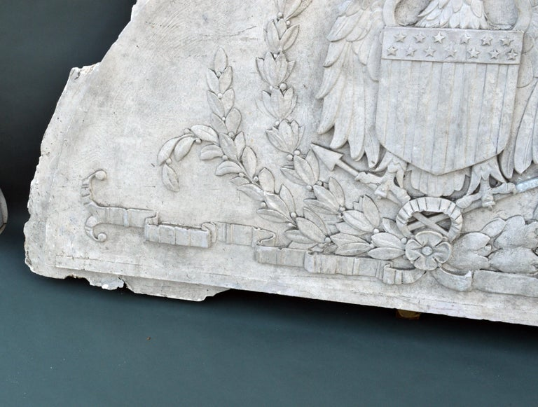 Massive American Antique Plaster Demilune Plaque with American Eagle & Shield For Sale 2