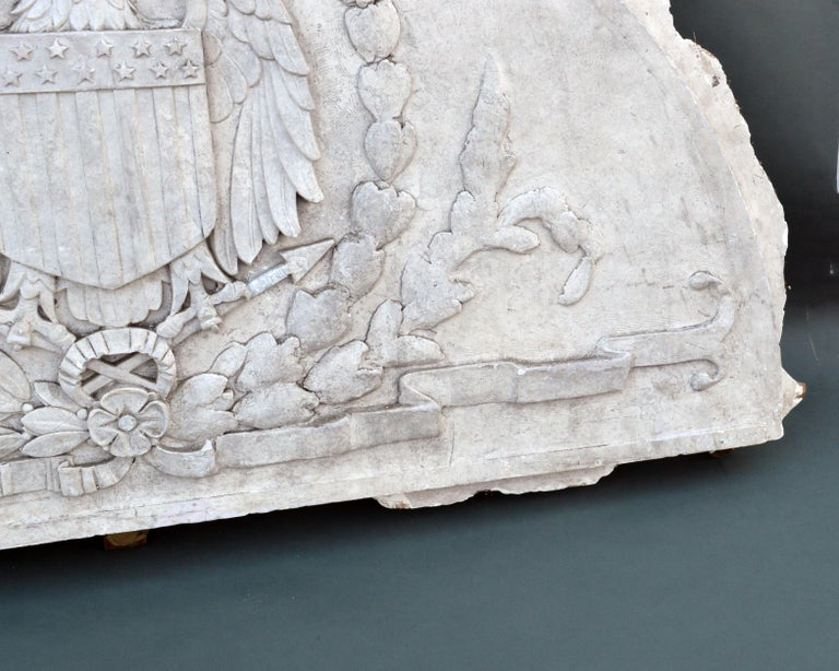 Massive American Antique Plaster Demilune Plaque with American Eagle & Shield For Sale 3