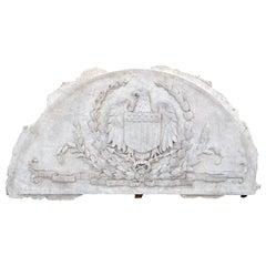 Massive American Antique Plaster Demilune Plaque with American Eagle & Shield