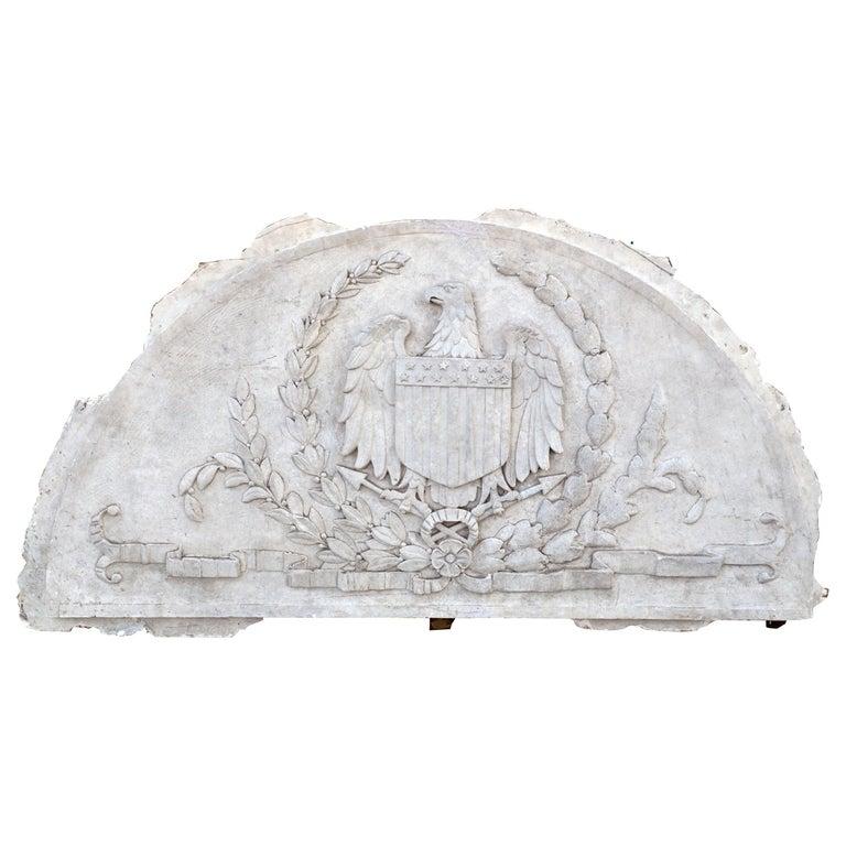 Massive American Antique Plaster Demilune Plaque with American Eagle & Shield For Sale
