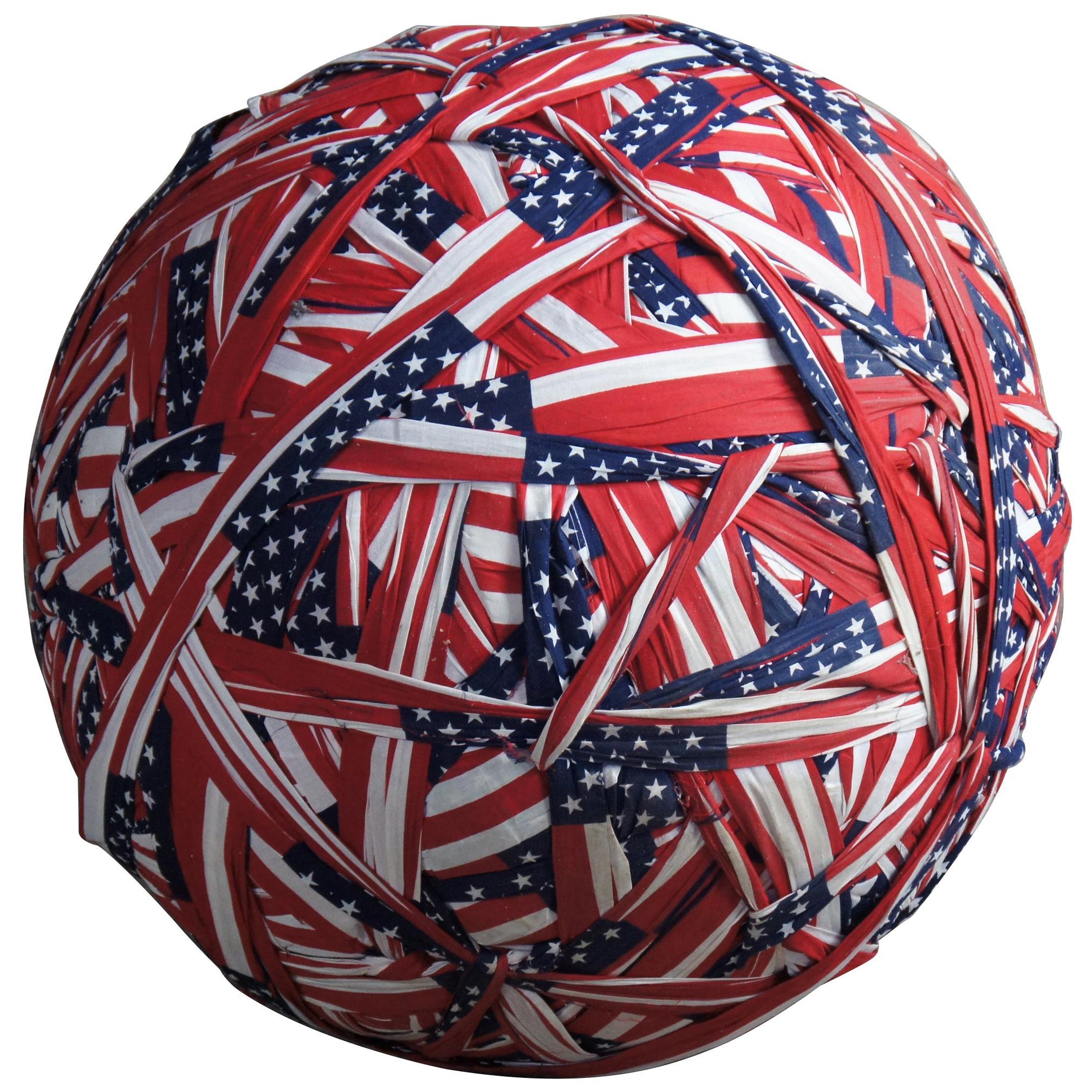 """Massive 31"""" American Flag Rag Ball Primitive Americana Sculpture Patriotic"""