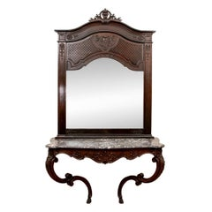 Massive and Elaborate Grand Entry Pier Mirror And Console