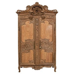 Massive and Elaborately Carved French Country Armoire