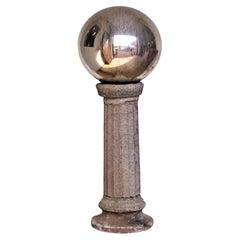 Massive Antique Blown Mercury Glass Gazing Ball on Pedestal
