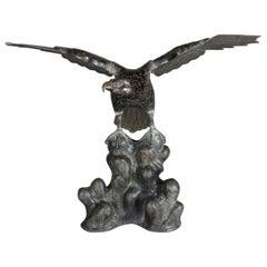 Massive Antique Bronze Figural Sculpture, Golden Eagle Taking Flight