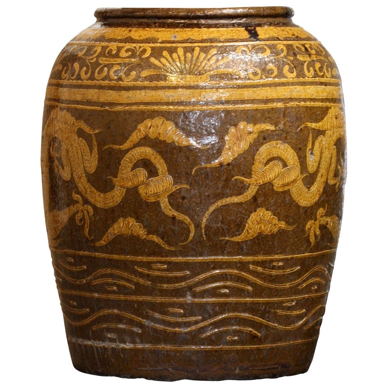 Massive Antique Chinese Earthenware Martaban Dragon Jar For Sale