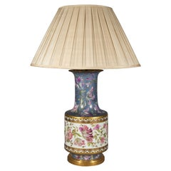 Massive Antique Hand Painted Table Lamp