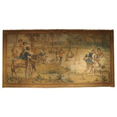 Massive Antique Italian Painted Canvas of a Hunt Scene, 19th Century