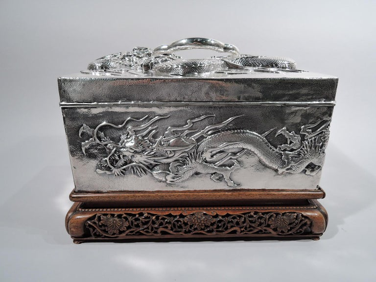 Meiji Massive Antique Japanese Silver Jewel Casket with Guardian Dragons For Sale