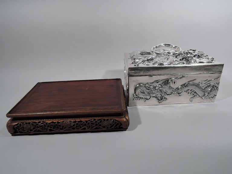19th Century Massive Antique Japanese Silver Jewel Casket with Guardian Dragons For Sale