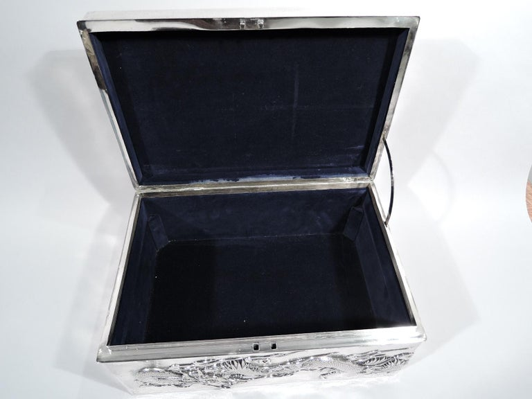 Massive Antique Japanese Silver Jewel Casket with Guardian Dragons For Sale 3