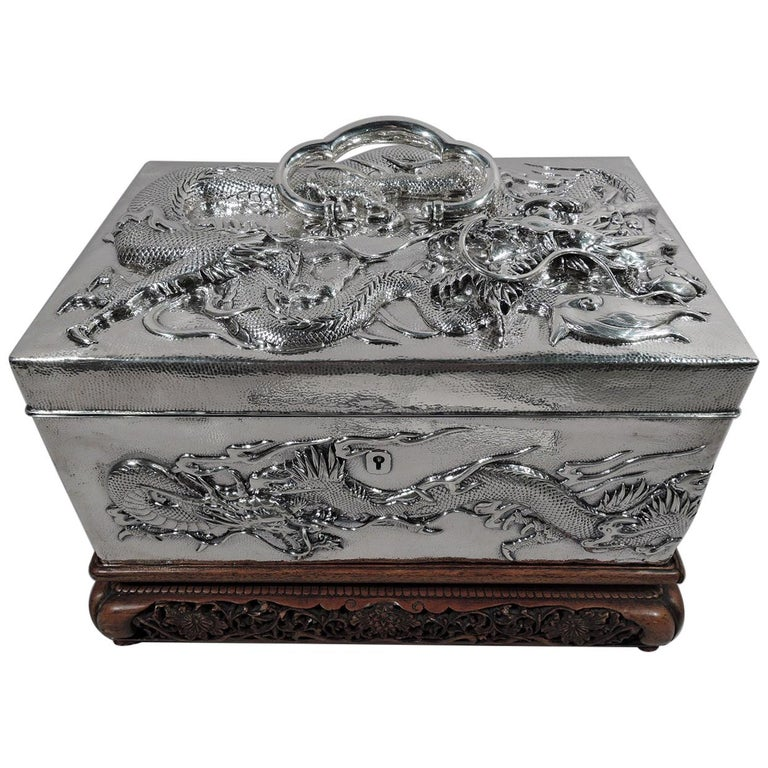 Massive Antique Japanese Silver Jewel Casket with Guardian Dragons For Sale