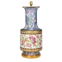 Massive Antique Porcelain Vase Table Lamp with Hand Painted Floral Decoration