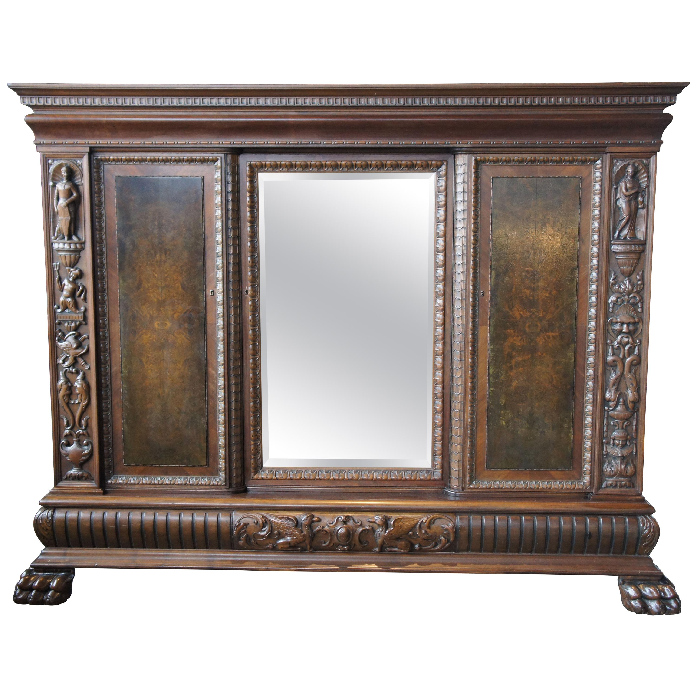 Massive Antique Renaissance Revival Walnut Carved Knockdown Bookcase Armoire