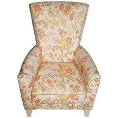 Massive Armchair with Solid Floral Fabric, Classic Design Chair