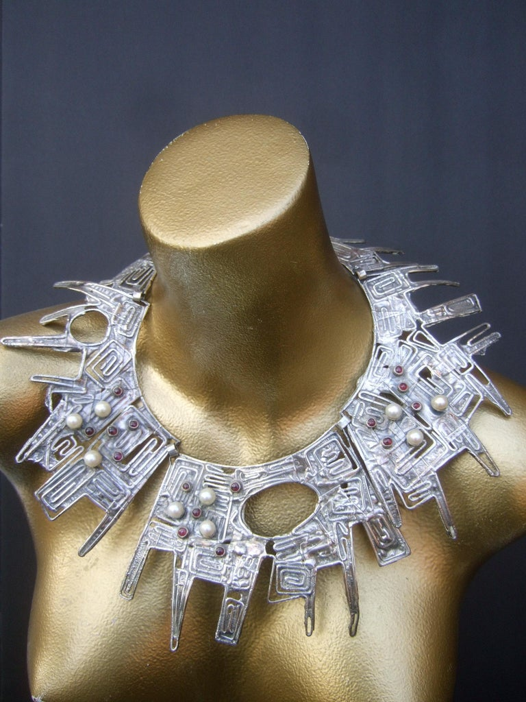 Massive avant-garde sterling silver brutalist statement necklace designed by Rachel Gera c 1970s  The incredible mind-boggling massive scale sterling silver artisan necklace is comprised of three huge scale sterling silver brutalist hinged panels;
