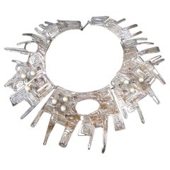 Massive Avant garde Sterling Silver Brutalist Statement Necklace by Rachel Gera